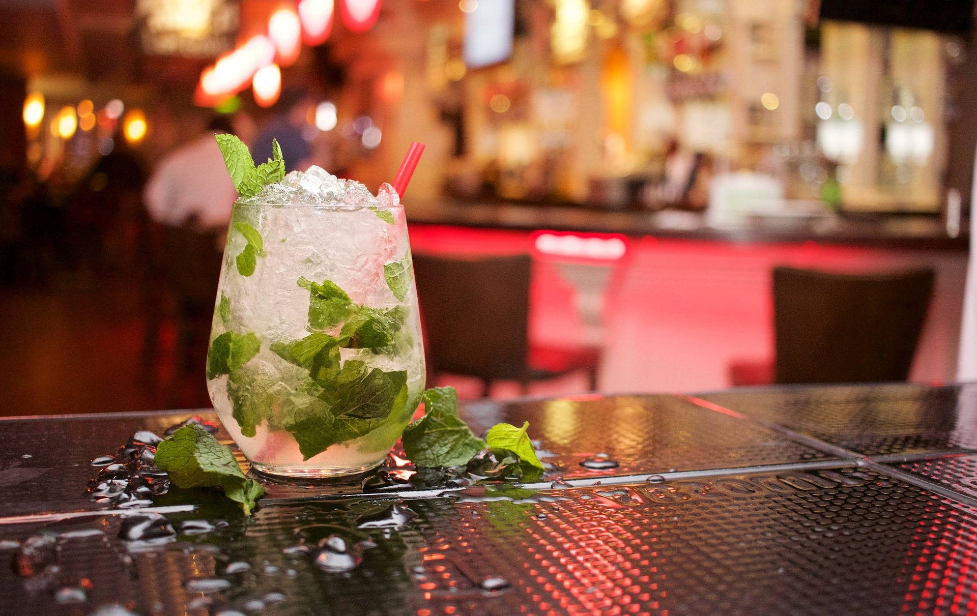 A mojito in a fancy bar.