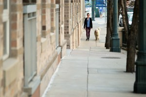 people adjust to life in the suburbs by walking their dog