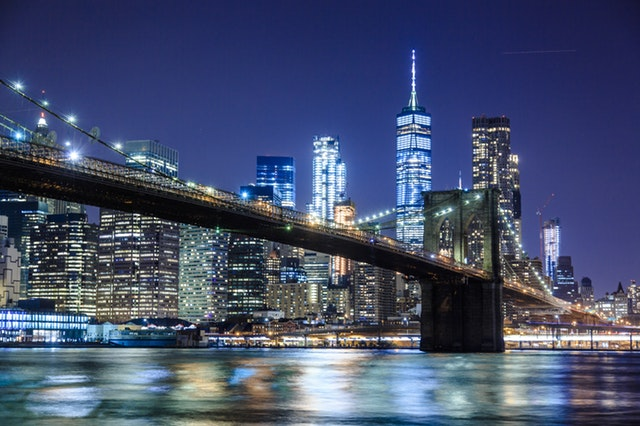 A look at Manhattan in the night from the sea