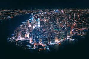 Nighttime Manhattan aerial view