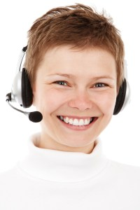 Woman smiling. Customer Support.