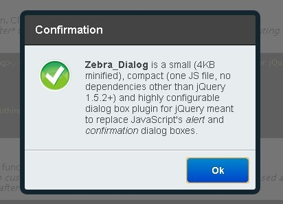 Powerful JQuery Dialog Box Plugin Zebra Dialog Free