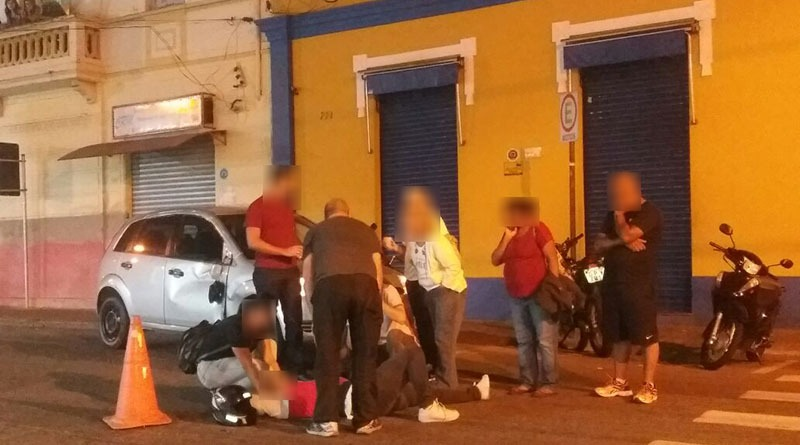 Motociclista fica ferido na rua Marechal