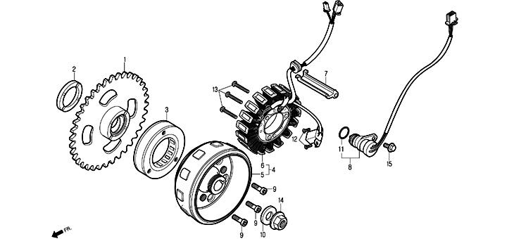 Stator pour moto Daelim Roadsport www.jrc-motos.com