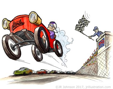 "Pencil and watercolor LA Times Illustration for the ""Stanley Steamer"" story in the young readers section."