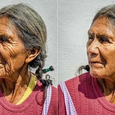 Portrait of old woman: Remove a Few Years worth of facial lines, correct dental malocclusion.