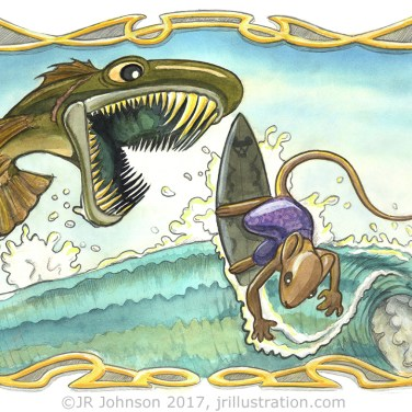 Pencil and watercolor concept art for Albert and Gino TV segments, featuring Gino surfing dangerous waters.