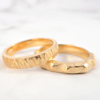 bagues texturées en argent 925 dorées à l'or fin