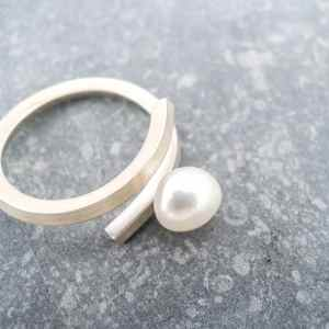 bague illusion en argent 925 avec perle de culture d'eau douce blanche