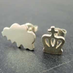 boucles d'oreilles en argent 925 en forme de Belgique et de couronne