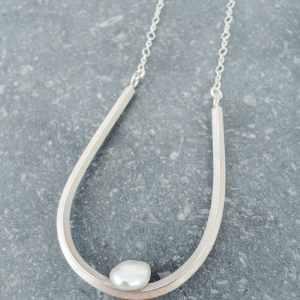 collier Illusion en argent 925 avec une perle d'eau douce