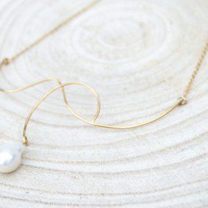collier White Tears en argent 925 plaqué or avec perle d'eau douce blanche