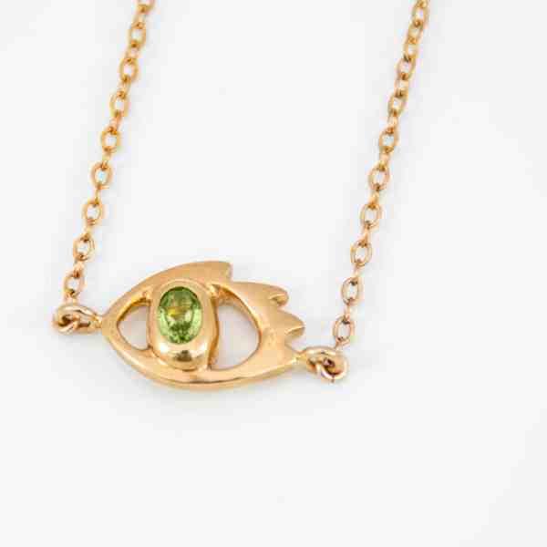 collier Protect Me avec pendentif en argent 925 plaqué or avec péridot
