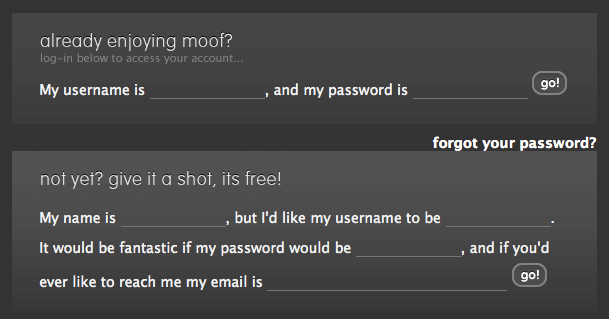 Login and registration forms on moof.com