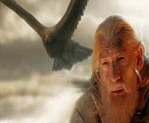 Una sequenza del film: Gandalf salvato da Gwahir