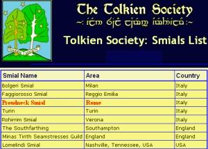 La lista degli Smial della Tolkien Society