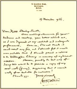 Lettera di J.R.R. Tolkien del 19 dicembre 1956 sulla biblioteca di Deddington
