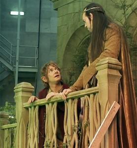 "Film: una scena da ""The Hobbit"": Bilbo ed Elrond"