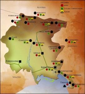 Mappa luoghi della Prima Guerra Mondiale