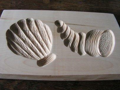 Mušle a lastura - dřevěná forma na perník