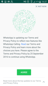 Whatsapp Agreement screen 1 select 'read more' to unshare data with facebook