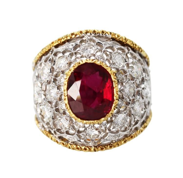 Buccellati Rings  18 Karat TwoTone Gold Ruby and