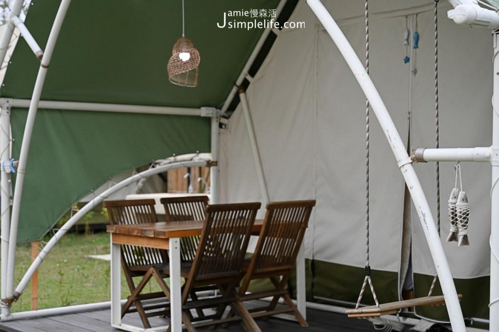 台中向海那漾豪華露營區 30頂豪華露營帳篷 戶外鞦韆與發呆休息區