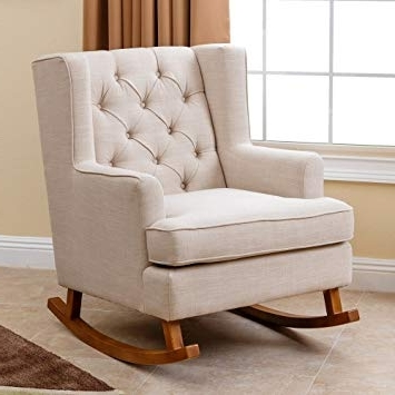 abbyson living thatcher fabric rocking chair in beige disposable covers for weddings 20 best collection of amazon chairs 2018 pertaining to