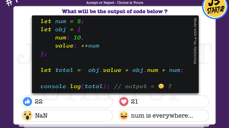 JavaScript Quiz – Find sum of object and variable value