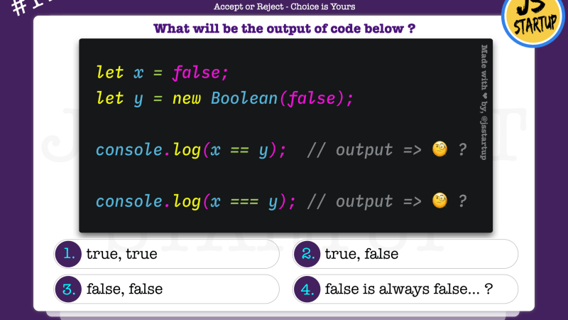 JavaScript Quiz – does false compare with false return false