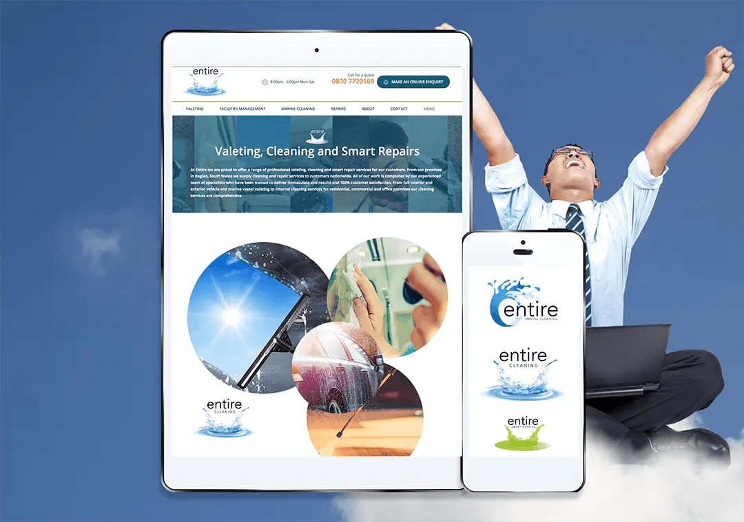Entire cleaning services - website, graphics design branding project