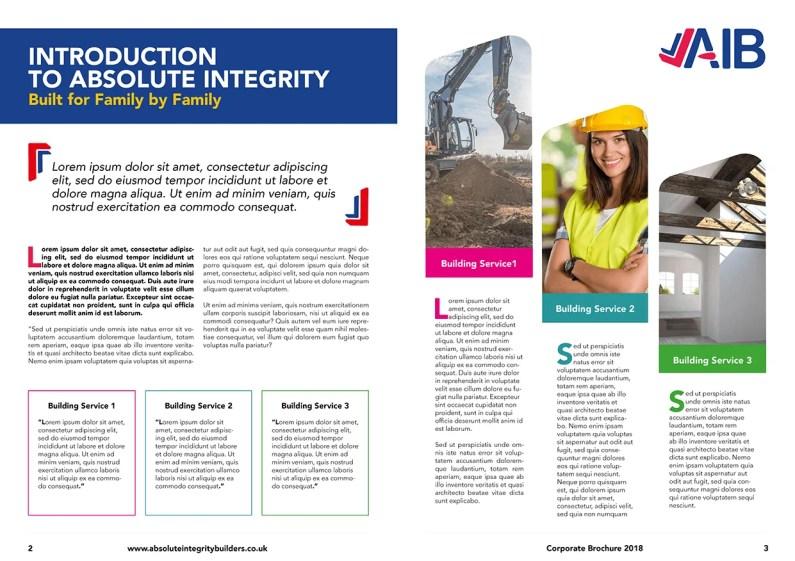 Double page spread design of corporate brochure design