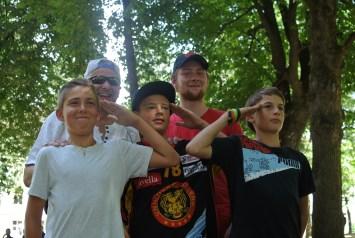 """Die Siegergruppe mit Mr. X """"Paulus"""""""
