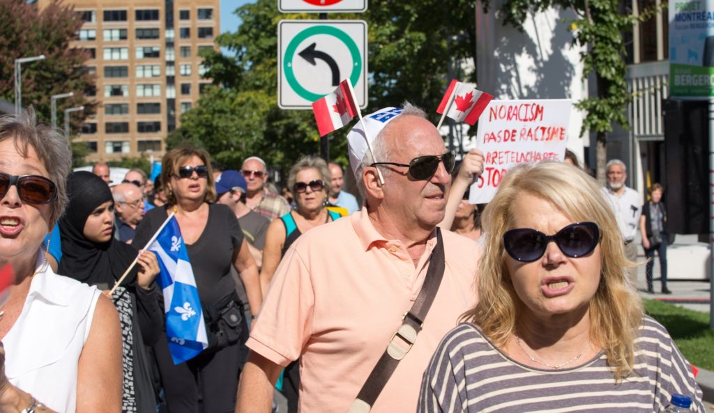 Montreal Jews protesting the proposed Charter of Quebec Values, which aims to restrict public displays of religious faith, Sept. 29, 2013. (David Ouellette)