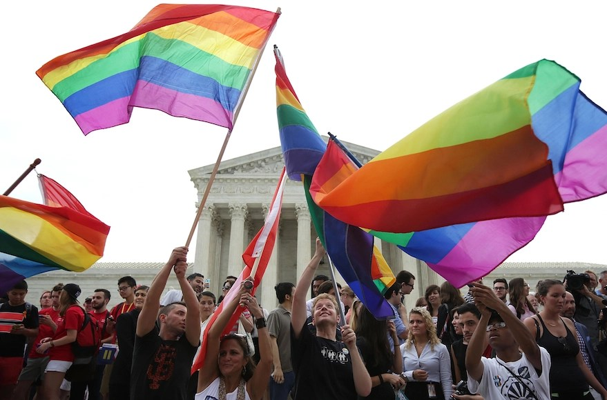 Same-sex marriage supporters celebrate outside the Supreme Court on June 26. (Alex Wong/Getty Images)