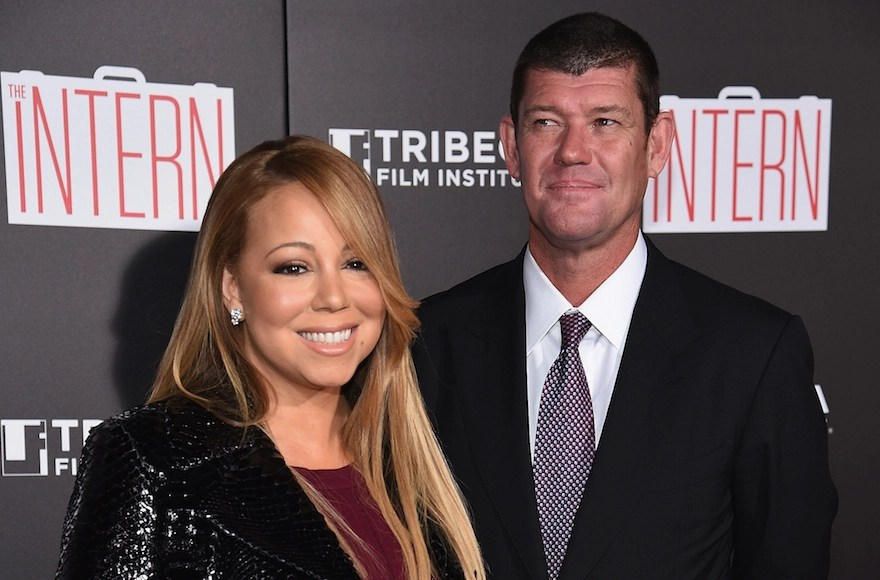"Mariah Carey and James Packer attending the New York City premiere of ""The Intern"" at the Ziegfeld Theater on Sept. 21, 2015. (Dimitrios Kambouris/Getty Images)"
