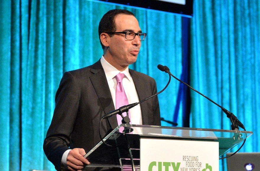 Steven Mnuchin speaking onstage at City Harvest: An Event Of Practical Magic in New York City, April 24, 2014. (Andrew H. Walker/Getty Images for City Harvest)