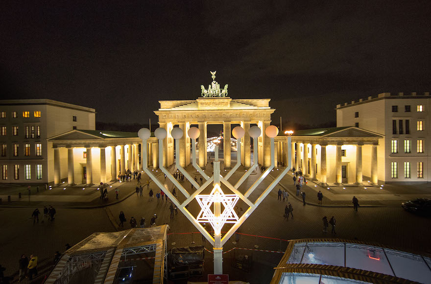 A menorah in front of the Brandenburg Gate in Berlin, Dec. 16, 2014 (Carsten Koall/Getty Images)