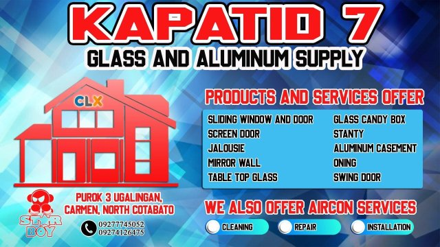 Business Tarpaulin Layout: Glass and Aluminum Supply, Business Tarpaulin Layout: Glass and Aluminum Supply, JTarp Design