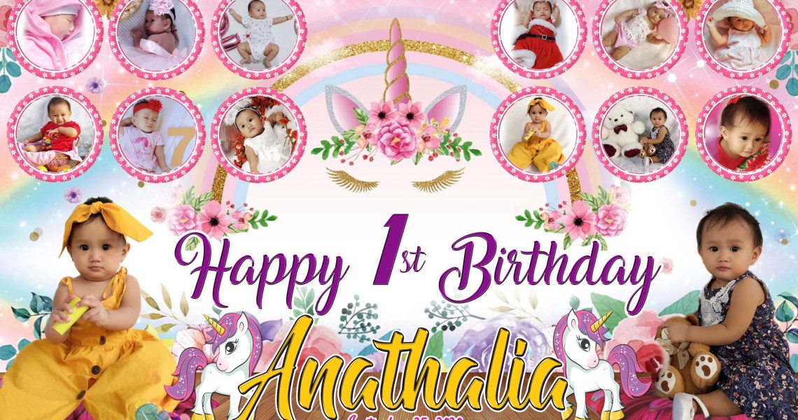 Unicorn Theme 1st Birthday Tarpaulin Design