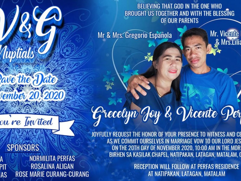 Wedding invitation Design Blue Motif