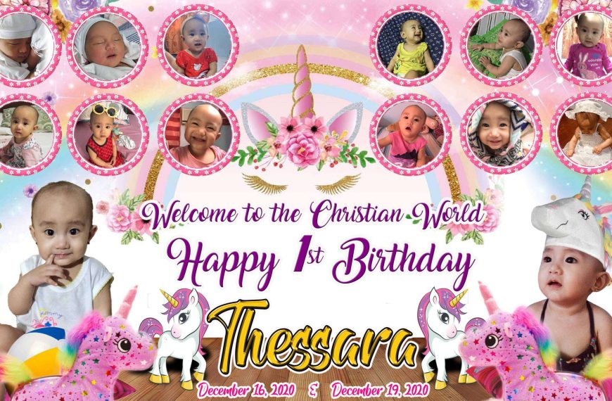 Unicorn Birthday and Christening Tarpaulin Layout PSD