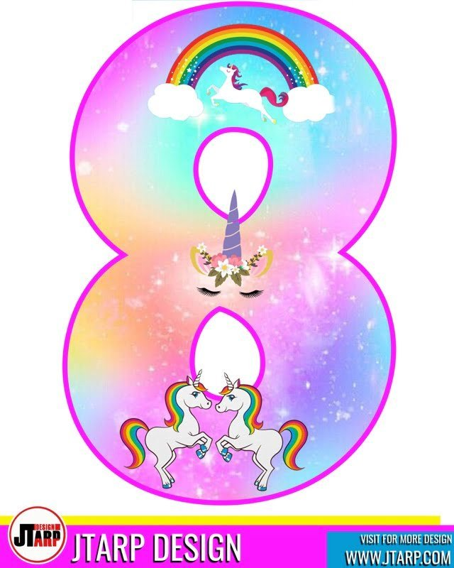 Free printable Number 8 Unicorn theme