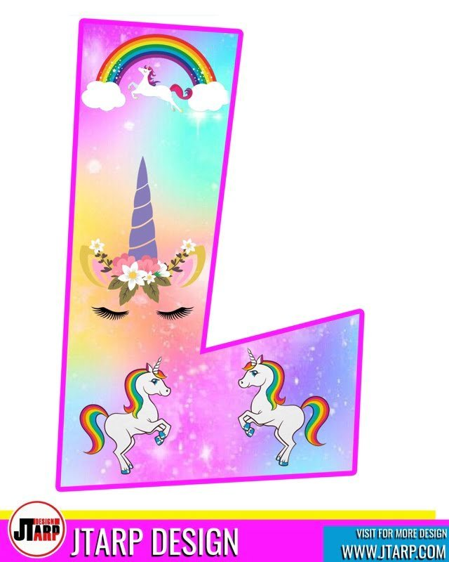 free unicorn party printables, Alphabet Letter L