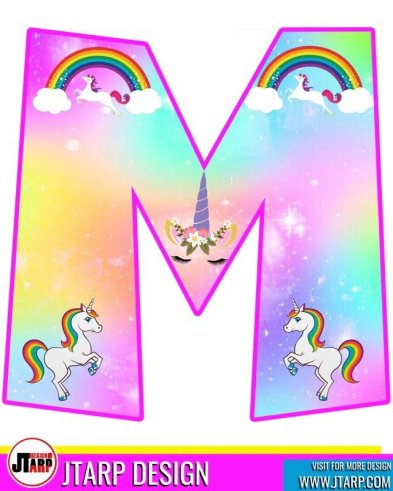 free unicorn party printables, Alphabet Letter M