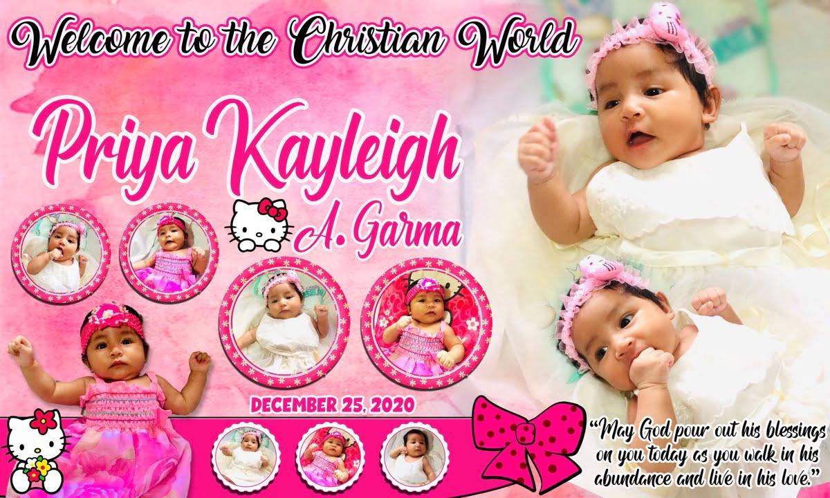 Christening Tarpaulin in Hello Kitty Pink Design Template