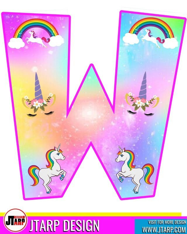 free unicorn party printables, Alphabet Letter W