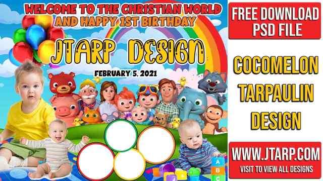 How to make Cocomelon Theme Tarpaulin Layout Design for Birthday and Christening: Photoshop Tutorial