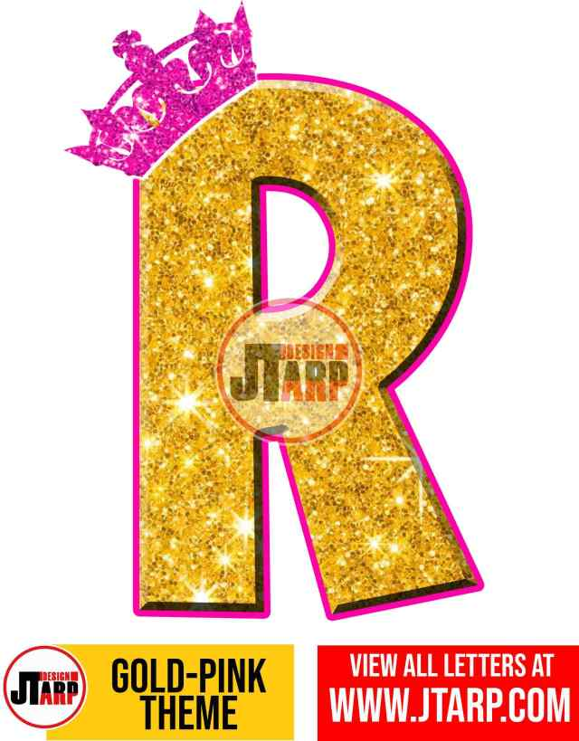 Letter R Gold and Pink Printables Tutu Unicorn Crown