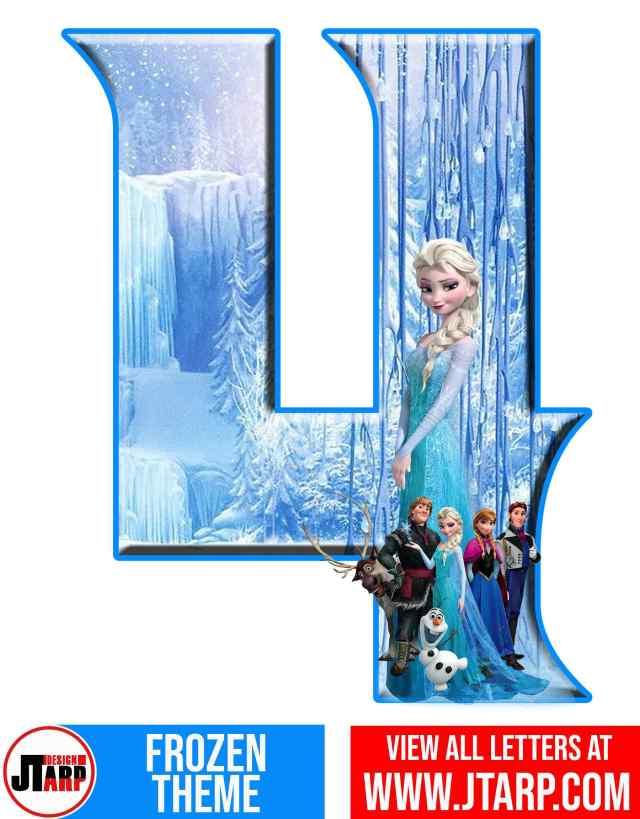 Number 4 Frozen Alphabet Letters Printable Free